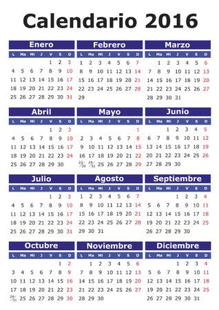 2016 vector calendar in Spanish. Easy for edit and apply. Calendario 2016 Illustration