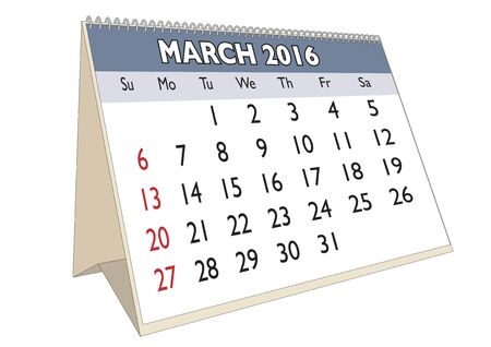 scheduler: March month in a year 2016 calendar in english. Week starts on Sunday Illustration