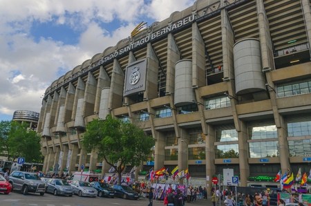 castellana: MADRID, SPAIN - APRIL 29: Facade of the Santiago Bernabeu Stadium on April 29, 2015 in Madrid, Spain. Real Madrid is one of the best soccer clubs of the world Editorial