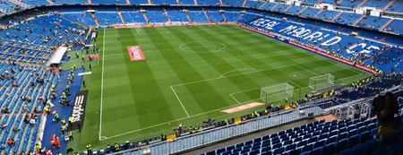 castellana: MADRID, SPAIN - APRIL 29: Santiago Bernabeu Stadium before the match on April 29, 2015 in Madrid, Spain. Real Madrid C.F. was born in the year 1902 and Santiago Bernabeu Stadium is its headquarters Editorial