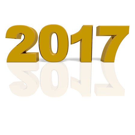 next year: Golden new year 2017 with reflections. 3d render Stock Photo