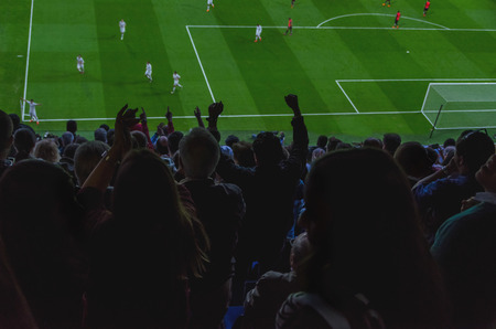 People and players celebrating a goal in a soccer match. Happy supporters are clapping their team Stock Photo