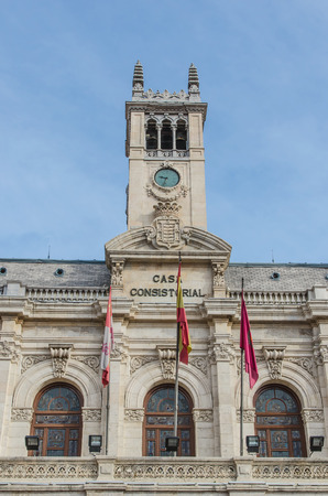 guildhall: Facade of the city hall in Valladolid, Castile and Leon, Spain. Casa consistorial Stock Photo