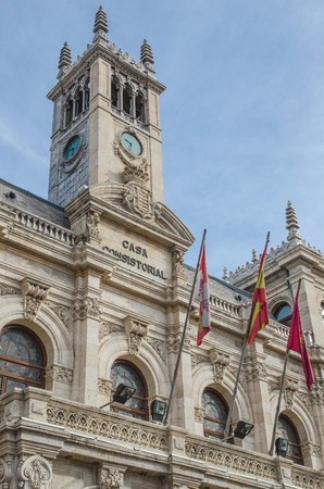guildhall: Detail of Valladolid city hall. Valladolid, Castile and Leon, Spain
