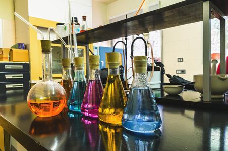 flasks: Some flasks in the chemical laboratory. Investigation and experiment concepts. Stock Photo