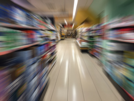 merchandise mart: Blurred picture of a supermarket. Lifestyle and consumerism concept Stock Photo