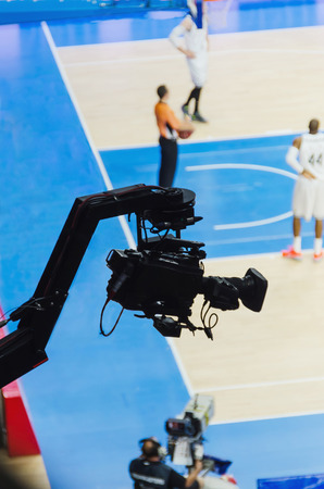 broadcasting: Live broadcasting of a basketball match with jib camera Stock Photo