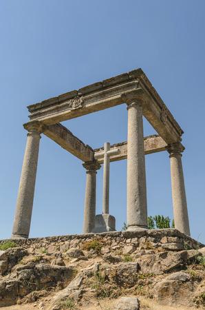cuatro: Avila de los Caballeros. The four post. Los cuatro postes. Christian monument. Stock Photo