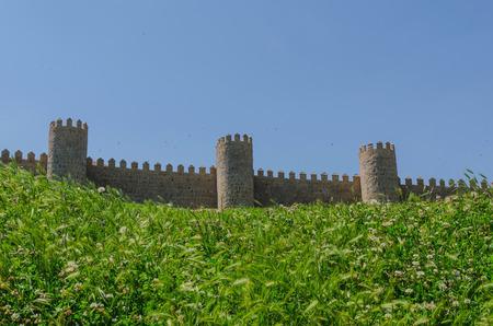 castile: Avila wall in a sunny day. Avila, Castile and Leon, Spain