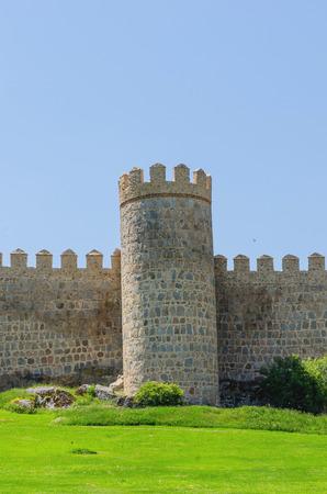 castile: One of the towers of Avila wall. Avila, Castile and Leon, Spain.