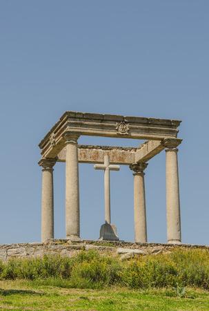 cuatro: The four post. Los cuatro Postes. Christian monument in Avila de los Caballeros, Avila, Castile And Leon, Spain Stock Photo