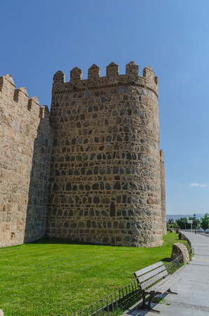 avila: Detail of one of the towers of Avila wall, Spain