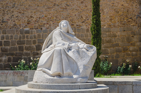 sainthood: Statue of Santa Teresa de Jesus in the city of Avila, Castile and Leon, Spain