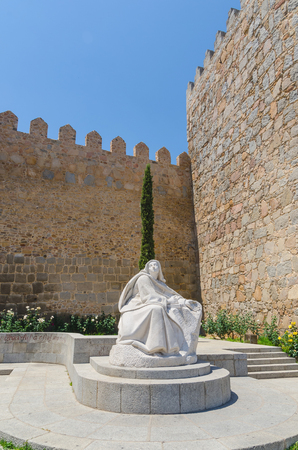 sainthood: Statue of Saint Therese of Jesus near the wall of Avila, Castile and Leon, Spain