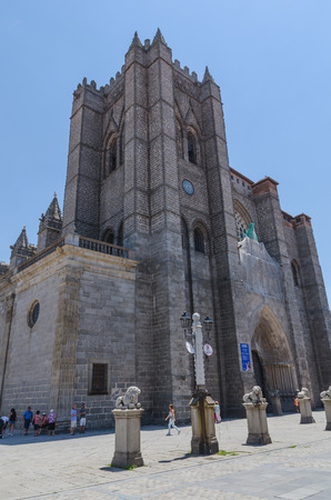 avila: AVILA, SPAIN - JUNE 27: Gothic cathedral in the city of Avila, on June 27, 2015. Avila cathedral is considered one of the  two first cathedrals built in gothic style in Spain