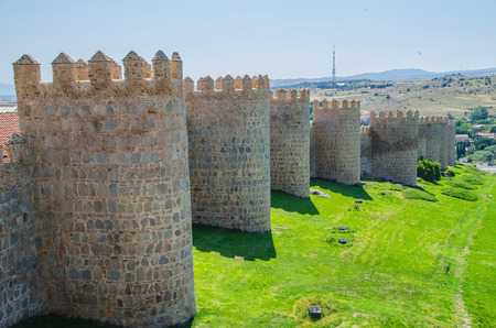 avila: View of the towers of the Avila walls Editorial