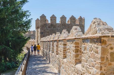 avila: People walks into Avila walls, Avila, Castilla y Leon, Spain