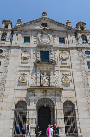 plaza of arms: AVILA, SPAIN - JUNE 27: Facade of Santa Teresa de Jesus church in the city of Avila, on June 27, 2015. The church was built on the house in which Teresa de Cepeda y Ahumada was born and is part of the Carmelite convent.