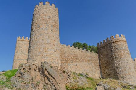 castile: Detail of the towers of Avila de los Caballeros wall, Avila, Castile and Leon, Spain