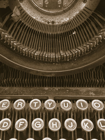typewriter key: Vintage typewriter covered wityh dust and dirt Stock Photo
