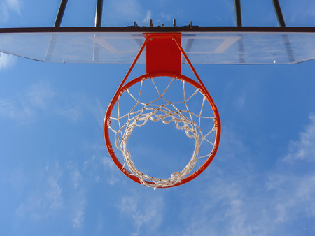 the view from below: Outdoors basketball hoop as view from below. Basket ball sport