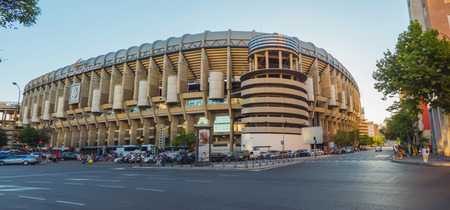 castellana: MADRID, SPAIN - JULY 28: Facade of the Santiago Bernabeu Stadium on July 28, 2015 in Madrid, Spain. Real Madrid is one of the best soccer clubs of the world