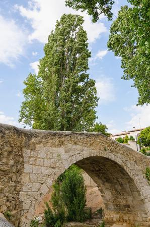 romanesque: Romanesque bridge of Tenerias in Aranda de Duero, Burgos, Spain Stock Photo