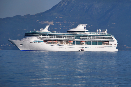 splendour: CORFU, GREECE - JULY 15: Cruise ship Splendour of the Seas of Royal Caribbean International moored in Santorini on July 15, 2012 in Corfu, Greece.