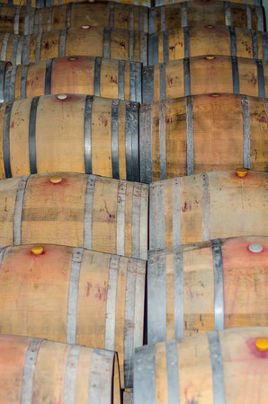 wineries: Used wine wooden barrels in a winery
