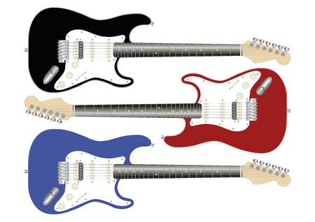 electric guitars: vector illustration of three electric guitars in black, red and blue Illustration