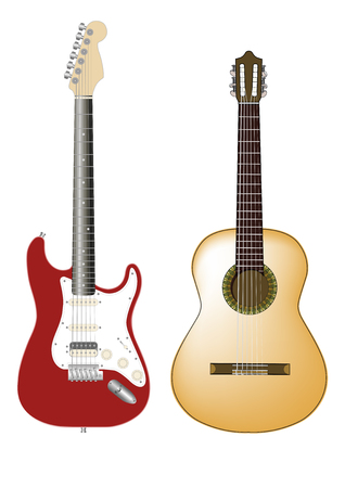 vector illustration of two guitars. One is electric an one is a classic or flamenco guitar