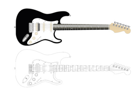 funk: illustration of an electric guitar in black Stock Photo