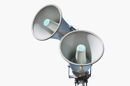 hablante: Altavoces. Meg�fonos aislados sobre blanco. Sistem sonido Foto de archivo