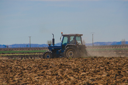 agriculture industrial: Tractor working in the farm. Zamora, Spain