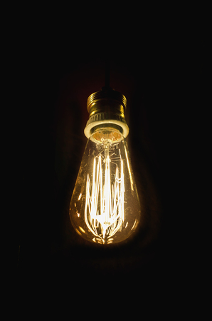electric bulb: Incandescent bulb. Vintage electric lamp. Old lightbulb