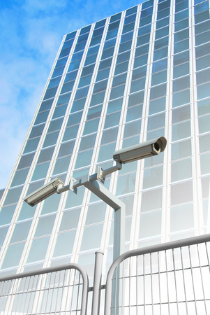 electronic survey: Security cameras in the facade of an office building