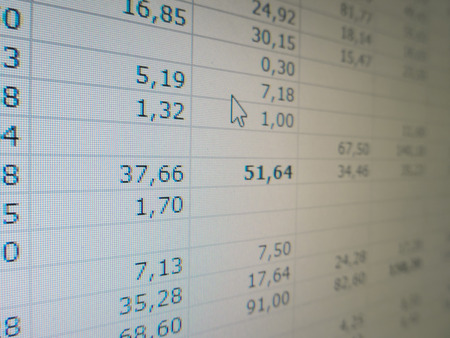 stock listing: Detailed view of an electronic spreadsheet with numbers, columns and rows. Big data