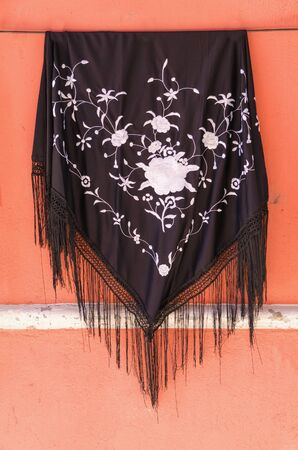 fairs: Manila shawl. Vintage spanish clothes in fairs and festive days Stock Photo