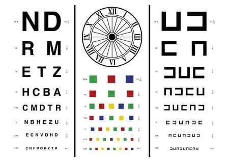 examen de la vista: Antiguo examen de la vista el estilo utilizado por optometristas u oftalm�logos para comprobar la vista humana Vectores