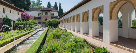 the  alhambra: Generalife palace garden in Alhambra of Granada. Spain. Editorial