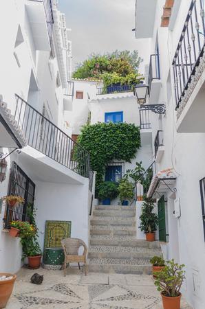 alley: Typical alley in Frigiliana, Malaga, Spain