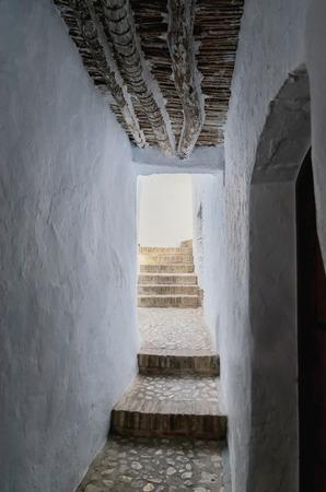 frigiliana: typical white alley in frigiliana, malaga, andalusia, spain