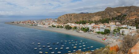 spain: Panoramic view of the beach of Calahonda. Costa Tropical, Granada, Andalusia, Spain