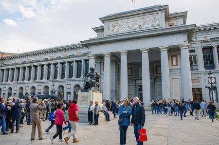 castellana: MADRID - OCTOBER 12: Tourists are waiting to enter in the Prado Museum. Madrid, Spain