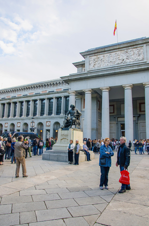 MADRID - OCTOBER 12: Tourists are waiting to enter in the Prado Museum. Prado museum is the most known public museum in Madrid