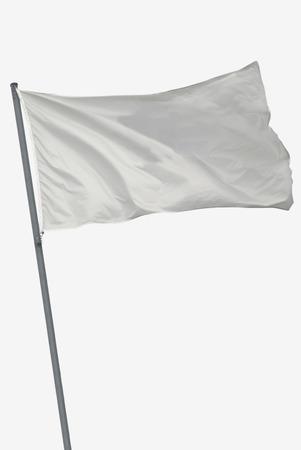 바람에 흰색 흔들며에 고립 된 빈 플래그