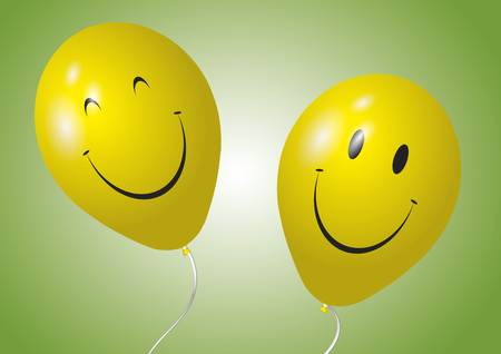 hands in the air: Two happy and smiling yellow baloons