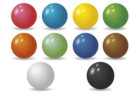 glass sphere: Ten shiny balls in diverse colors. Sphere. Ball. Circle. Illustration