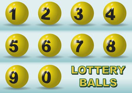 Numbered lottery balls in yellow. Luck numbers