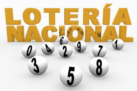 loteria: bolas de la lotería numeradas del 0 al 9. Lotería Nacional. Loteria Nacional